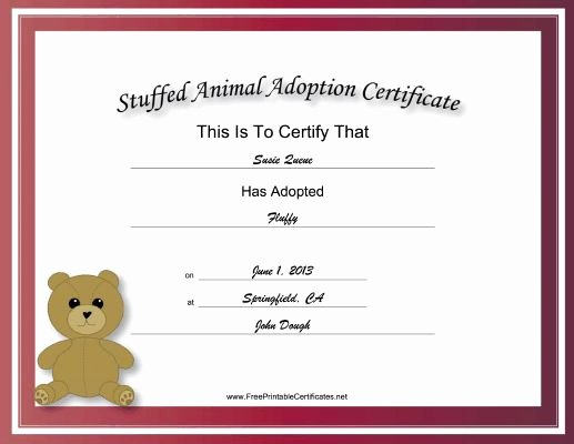 Stuffed Animal Adoption Certificate Template New Made to Look Academic and Official This Free Printable