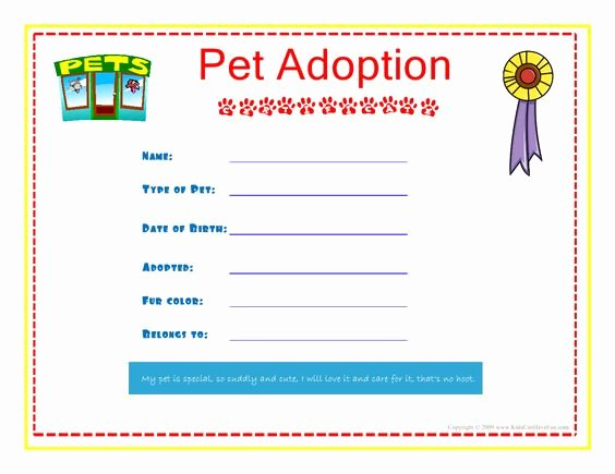 Stuffed Animal Birth Certificate Template Awesome Pet Adoption Certificate for the Kids to Fill Out About