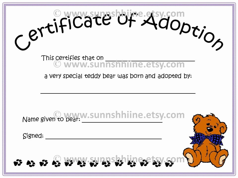 Stuffed Animal Birth Certificate Template Best Of Certificate Of Adoption Teddy Bear Stuffed Animal by