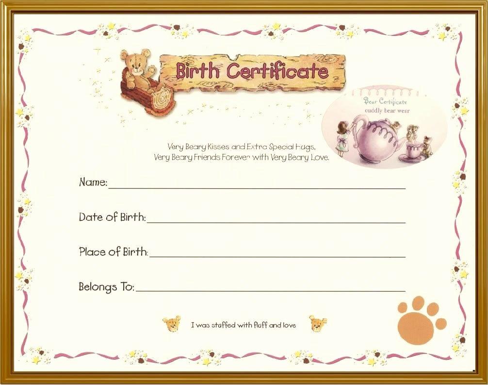 Stuffed Animal Birth Certificate Template Elegant Teddy Bear Birth Certificate