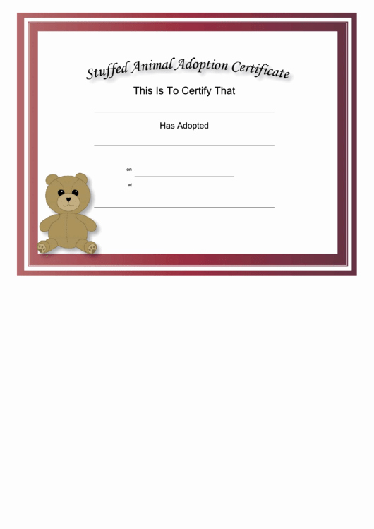 Stuffed Animal Birth Certificate Template Lovely top Pet Adoption Certificate Templates Free to In