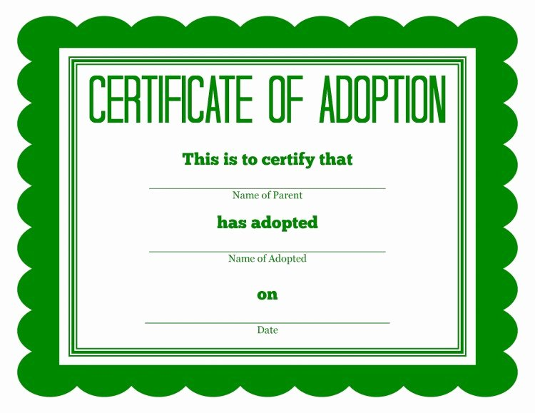 Stuffed Animal Birth Certificate Template Luxury God – Simon Says Adoption Certificate Template