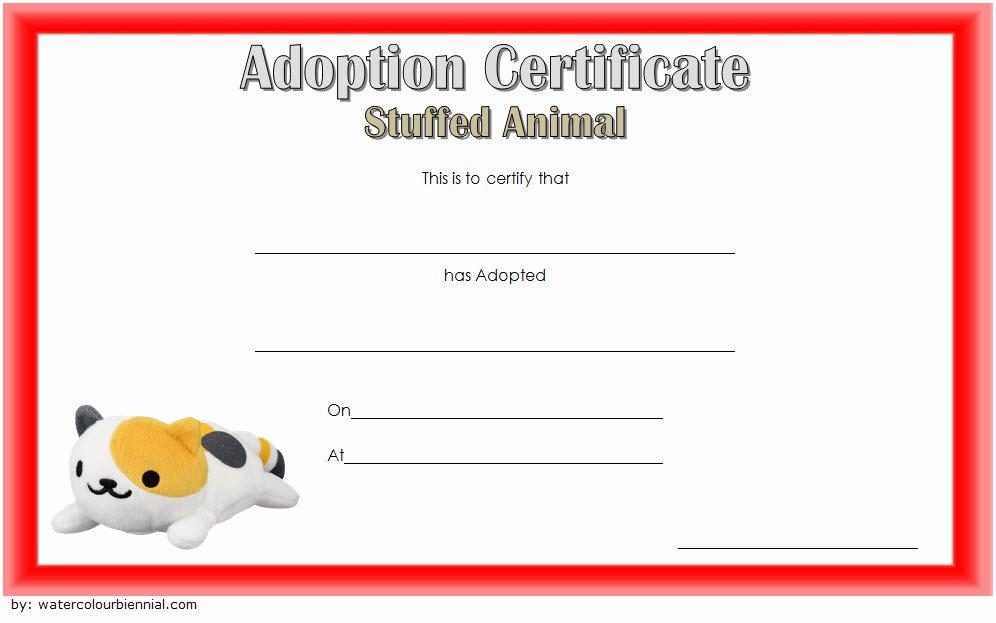 stuffed animal adoption certificate template free