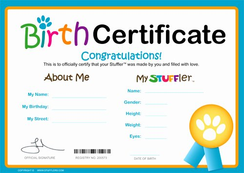 Stuffed Animal Birth Certificate Template Unique Stufflers Kids Entertainment and Fundraising In Australia