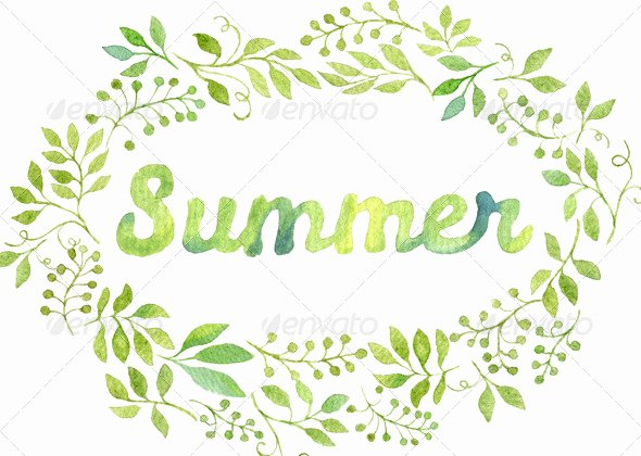Summer Borders for Word Documents Lovely Watercolor Foliage Wreath with the Word Summer by Helga