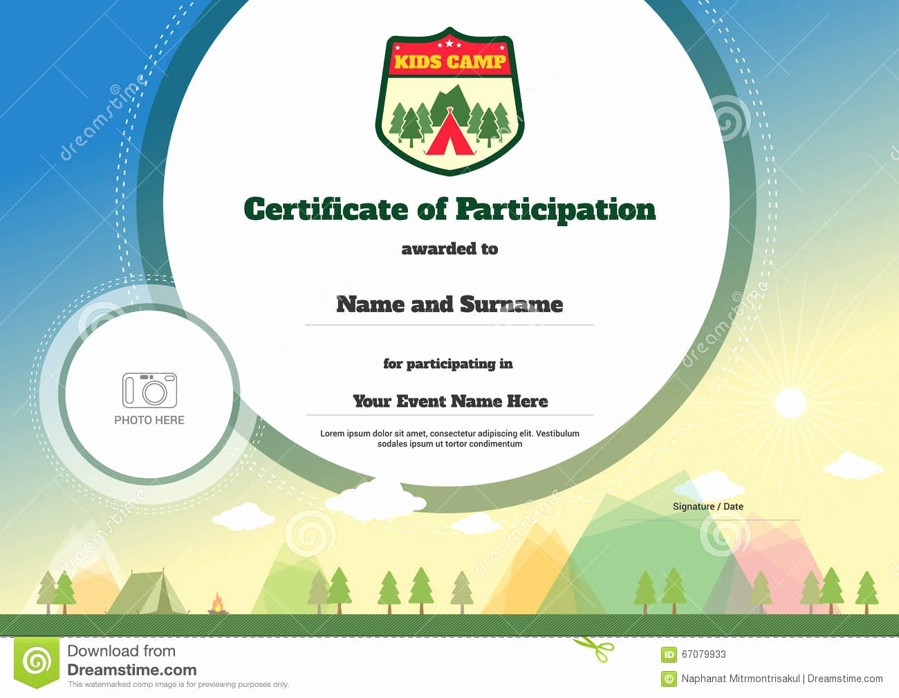 Summer Camp Certificate Template Best Of Kids Certificate Template In Vector for Camping