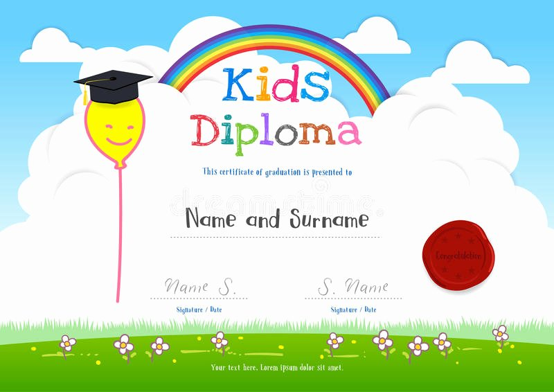 Summer Camp Certificate Template Inspirational Colorful Kids Summer Camp Diploma Certificate Template In