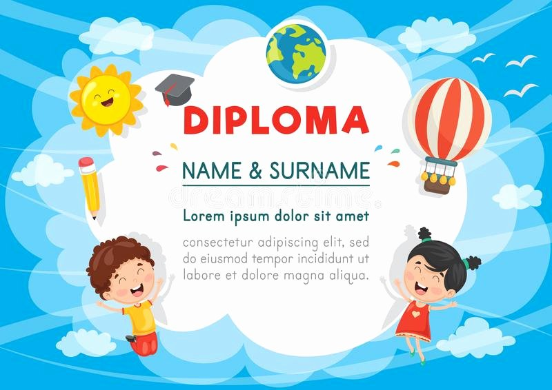 Summer Camp Certificate Template Inspirational Kids Diploma Certificate Template with Hand Drawing