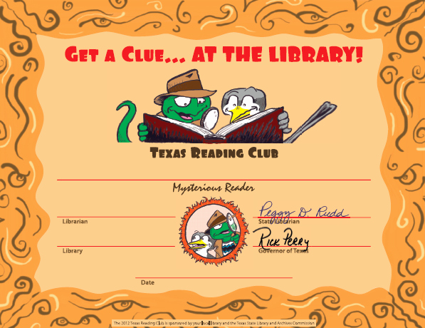 Summer Camp Certificate Template Inspirational Texas Reading Club 2012 Get A Clue the Library