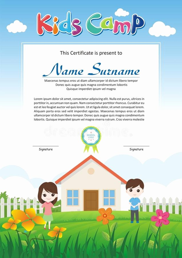 Summer Camp Certificate Template New Kids Diploma Certificate with Rainbow Background Stock
