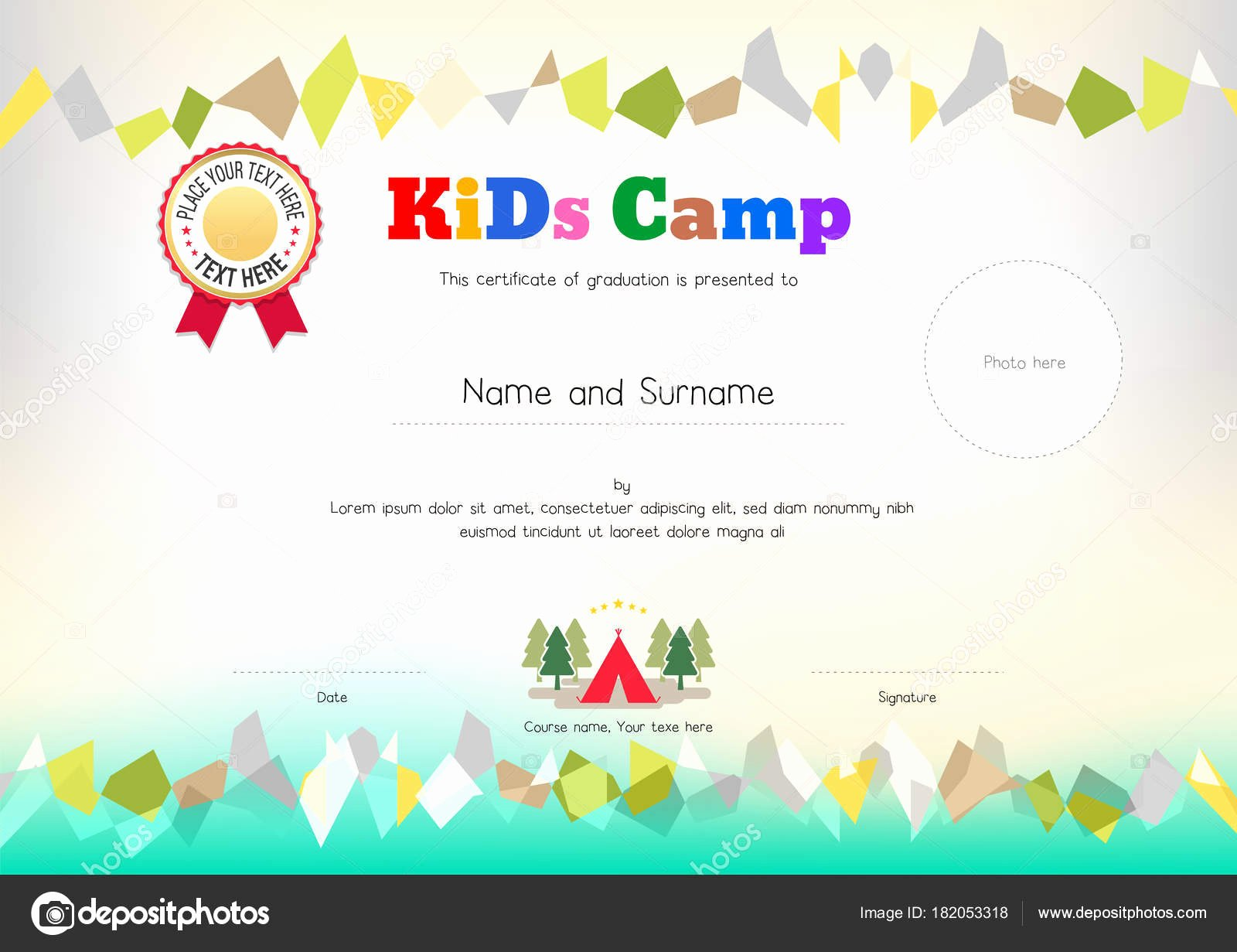 Summer Camp Certificate Template New Kids Summer Camp Diploma or Certificate Template Award