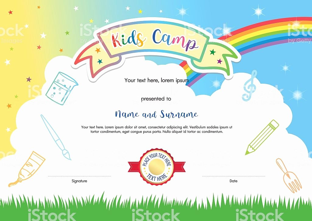 Summer Camp Certificate Template Unique Colorful Kids Summer Camp Diploma Certificate Template In