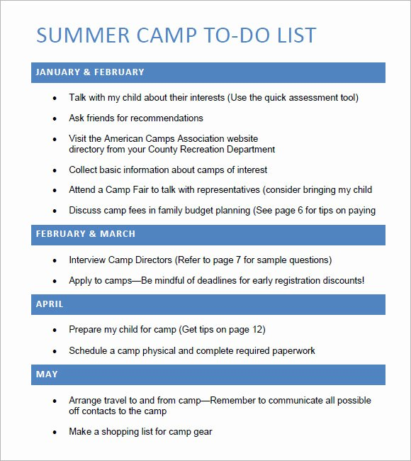 Summer Camp Certificate Template Unique to Do List Template – 8 Free Samples Examples format