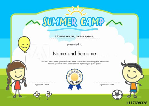 Summer Camp Certificate Templates Beautiful Kids Summer Camp Certificate Document Template with Hand