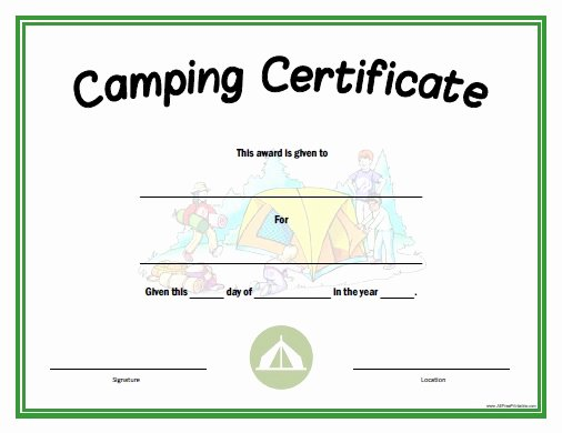 Summer Camp Certificate Templates Best Of Camping Certificate Free Printable Allfreeprintable