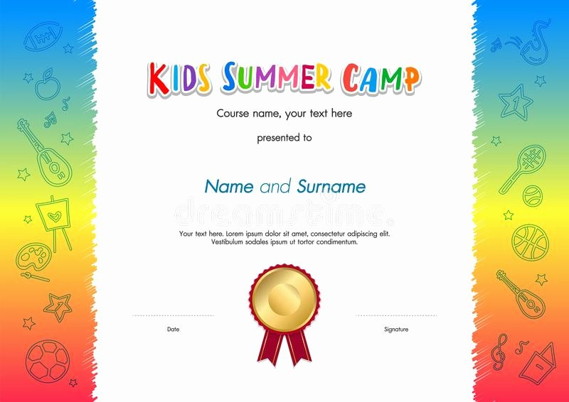 Summer Camp Certificate Templates Best Of Kids Summer Camp Diploma Certificate Template Award