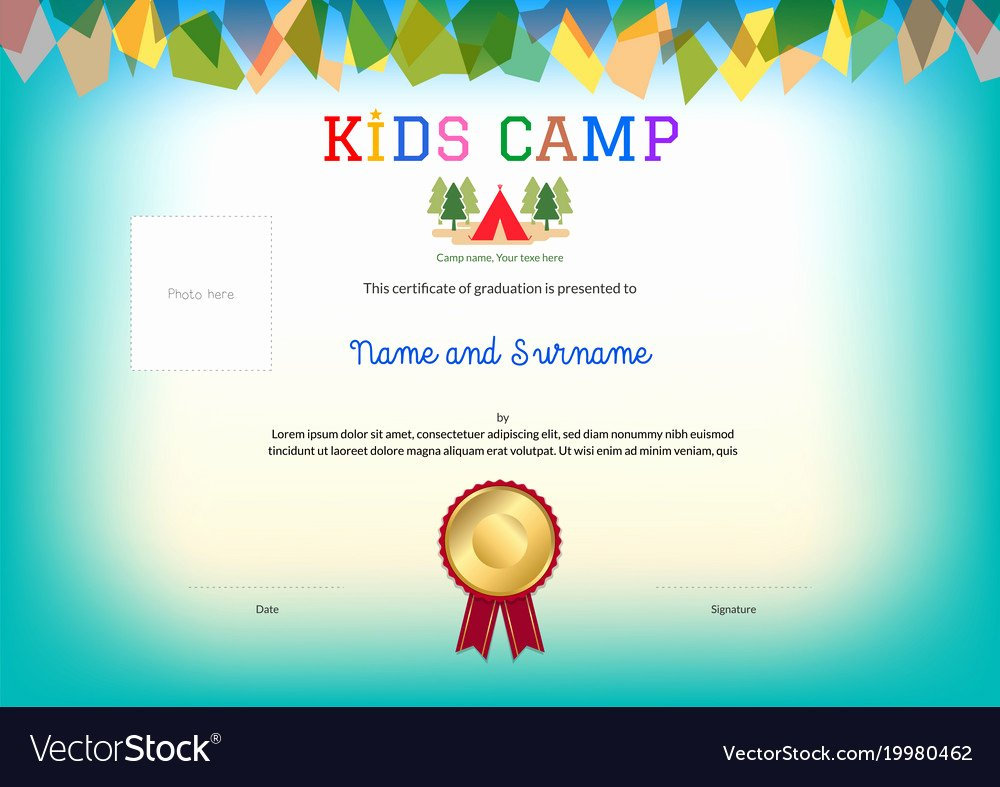 Summer Camp Certificate Templates Elegant Kids Summer Camp Diploma or Certificate Template Vector Image