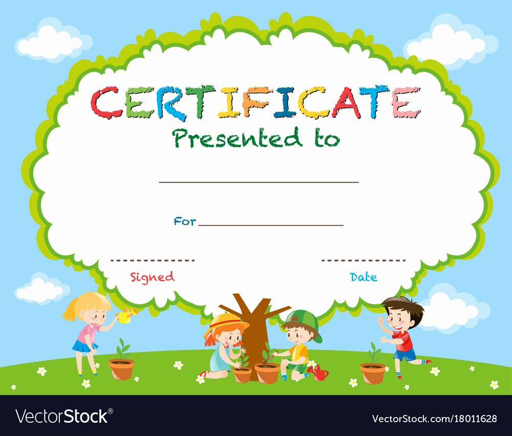 Summer Camp Certificate Templates Inspirational Certificate Template with Kids Planting Trees Vector Image
