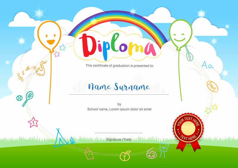Summer Camp Certificate Templates Luxury Colorful Kids Summer Camp Diploma Certificate Template In