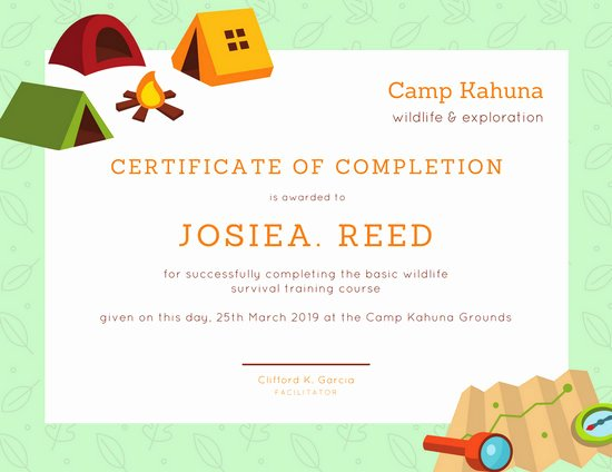 Summer Camp Certificate Templates Luxury Green Camping Certificate Of Pletion Templates by Canva