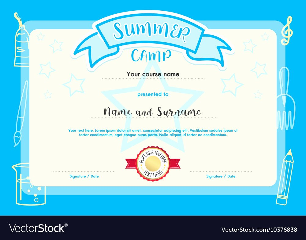 Summer Camp Certificate Templates New Kids Summer Camp Document Certificate Template Vector Image