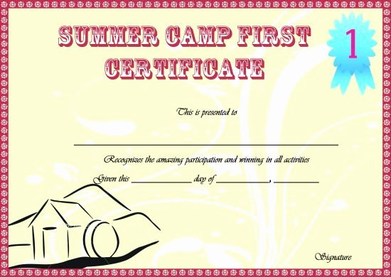 Summer Camp Certificate Templates Unique Summer Camp Certificate Templates 15 Templates to