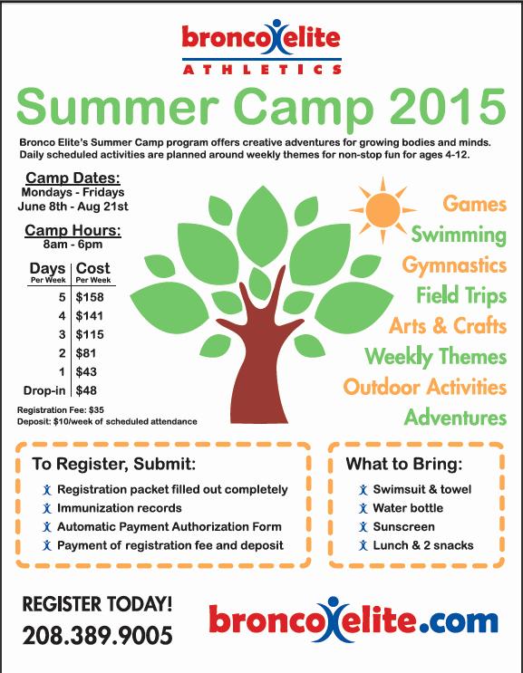 Summer Camp Registration form Sample Awesome forms – Bronco Elite athletics