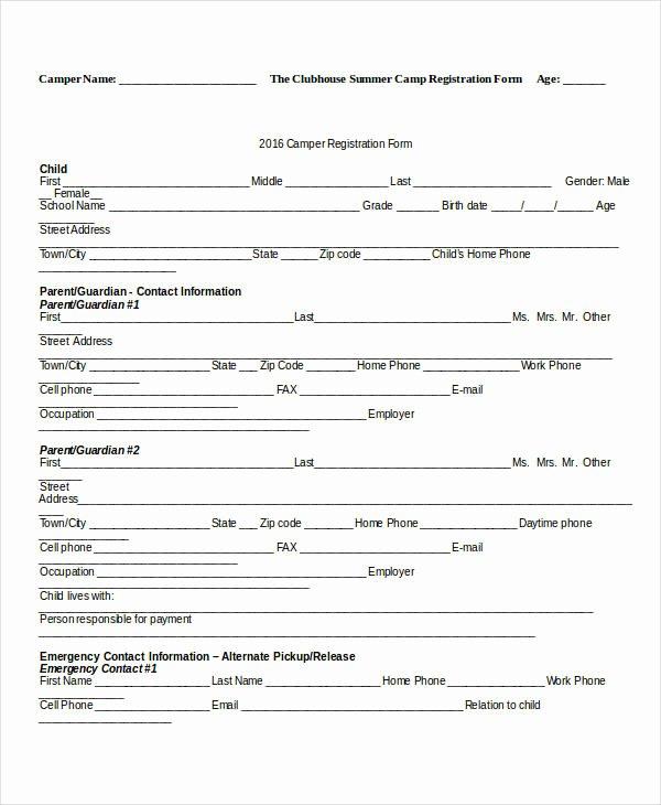 Summer Camp Registration form Sample Awesome Registration forms