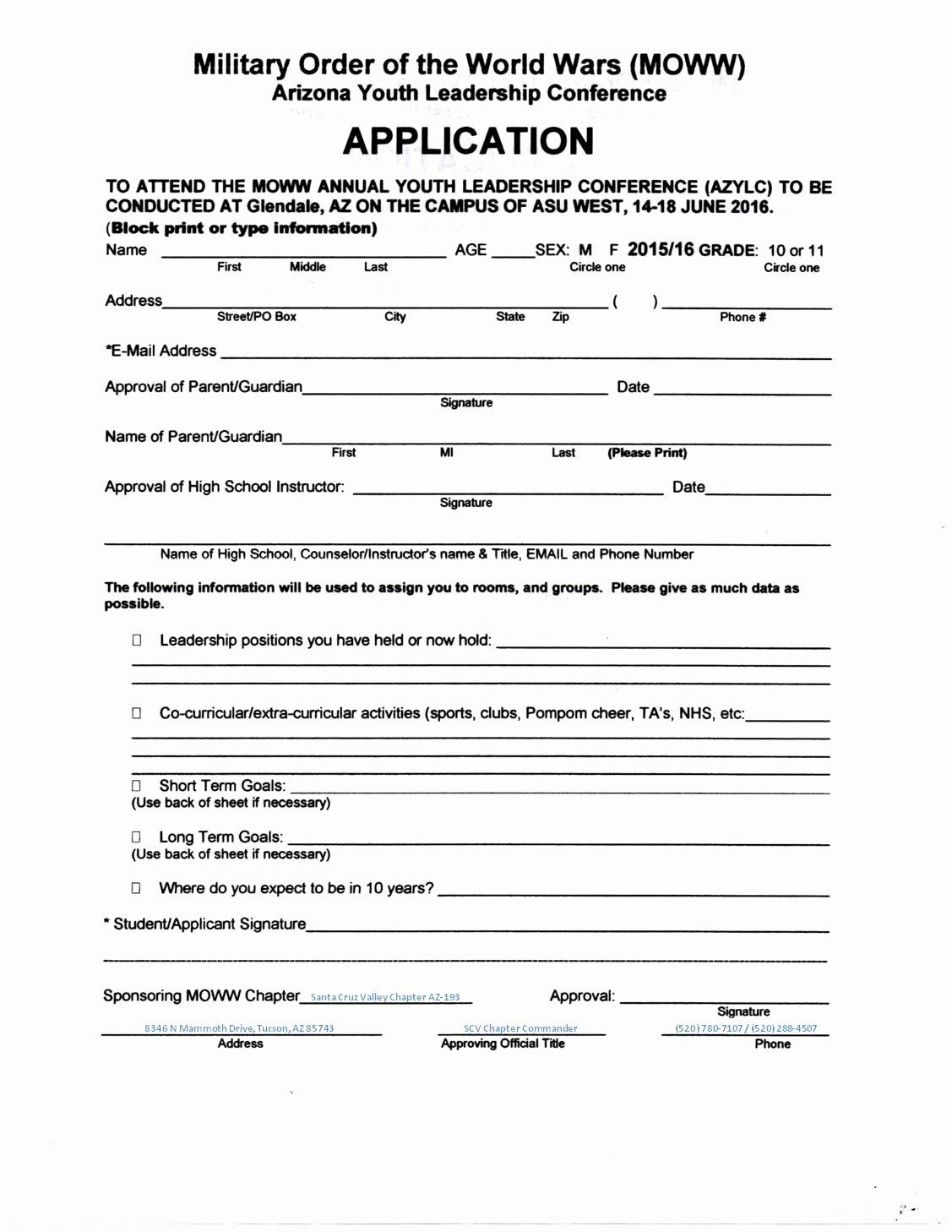 Summer Camp Registration form Sample Fresh Arizona Youth Leadership Conference Summer Program