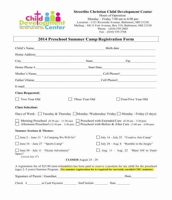 Summer Camp Registration form Sample Inspirational Free 10 Printable Summer Camp Registration forms