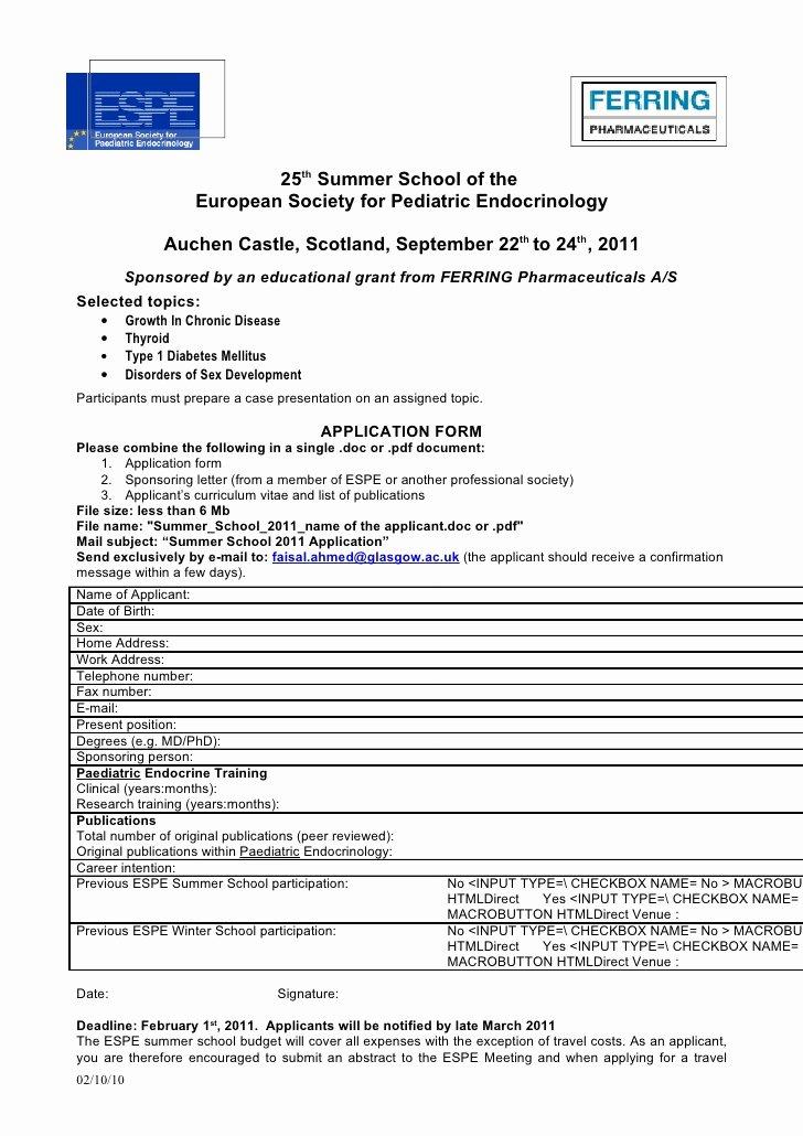Summer Camp Registration form Sample Luxury 2011 Summer School Application form Doc 66kb