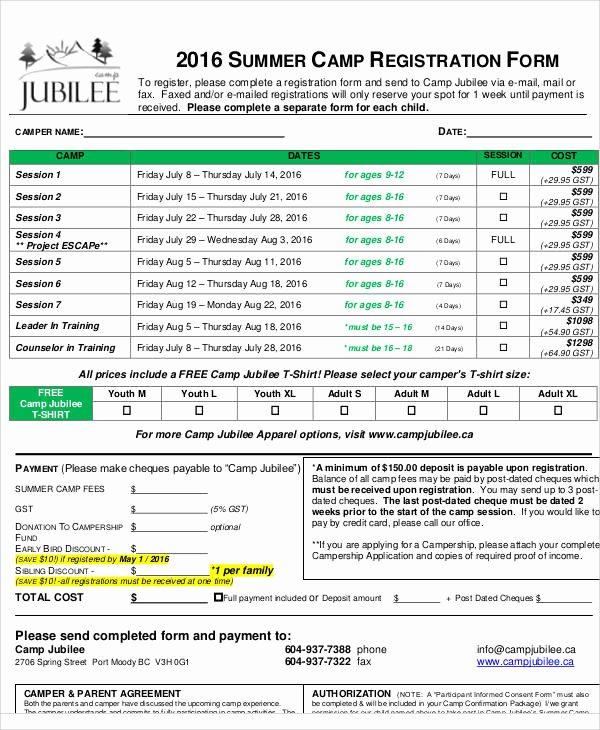 Summer Camp Registration form Sample Unique 50 Registration forms In Pdf