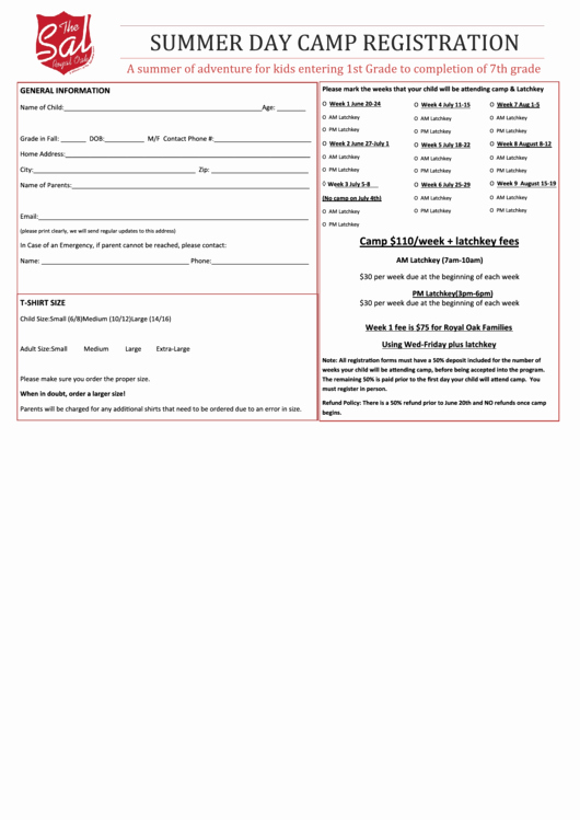 Summer Camp Registration form Template Fresh Summer Day Camp Registration form Salvation Army In