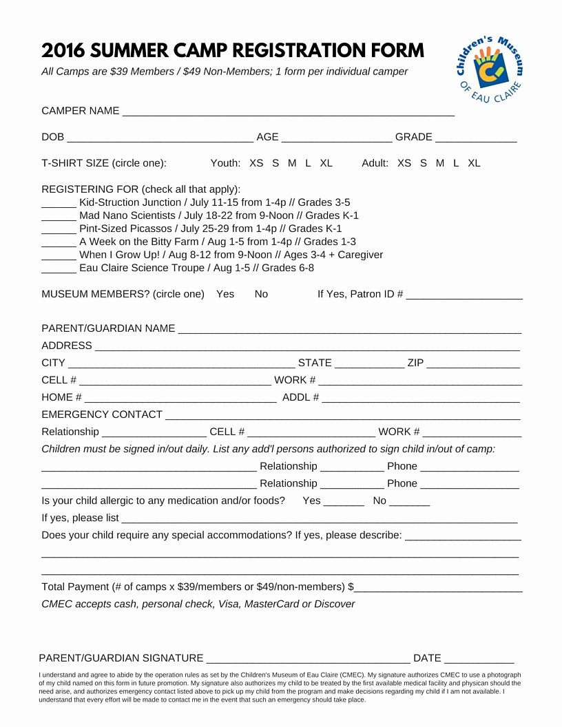 Summer Camp Registration form Template Inspirational Summer Camps at the Children S Museum Of Eau Claire