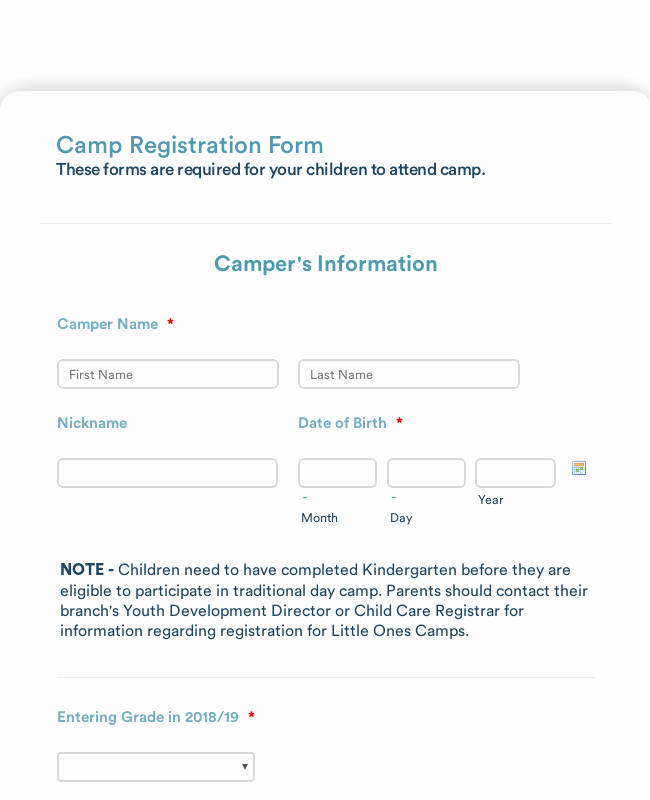Summer Camp Registration form Template Lovely Summer Camp Detailed Registration form Template