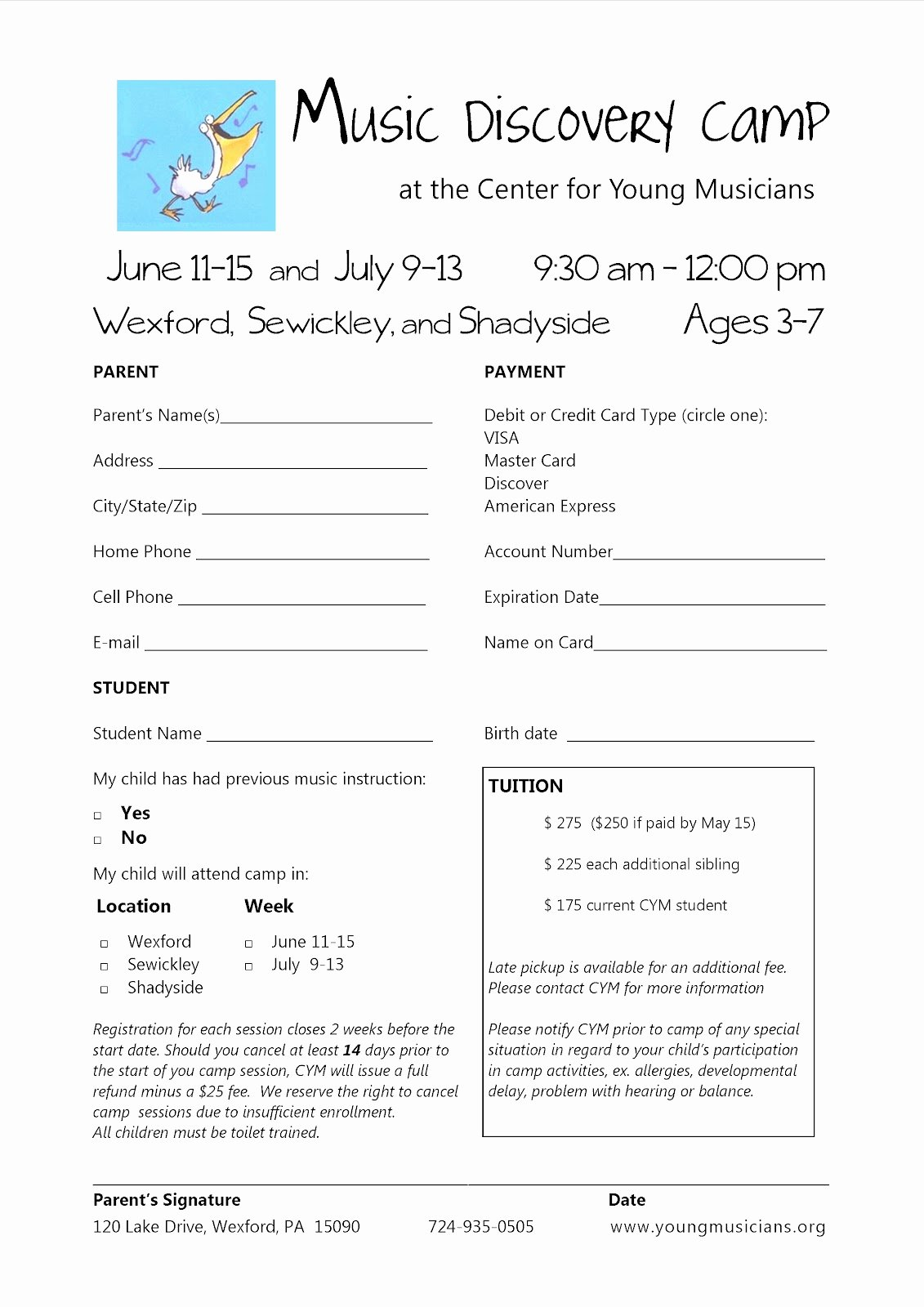 Summer Camp Registration form Template Lovely Take Note Music Discovery Camp 2012 Registering now