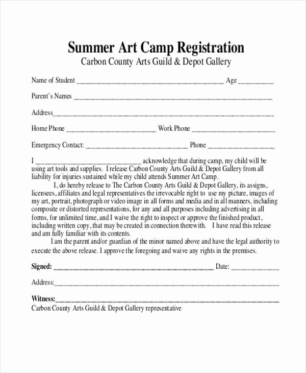 Summer Camp Registration form Template Unique Free 10 Summer Camp Registration form Samples In Sample