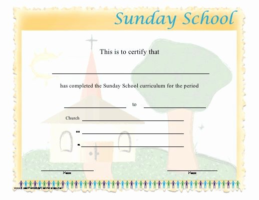 Sunday School Awards Recognition Fresh This Certificate Certifies the Pletion Of Sunday School