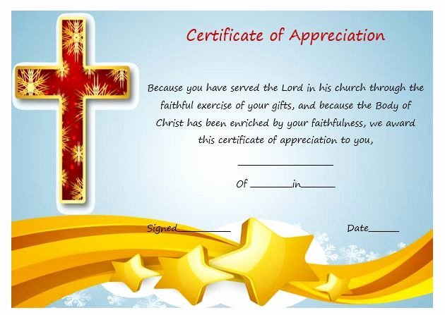 Sunday School Awards Recognition Inspirational Sample Certificate Appreciation for Pastor 2