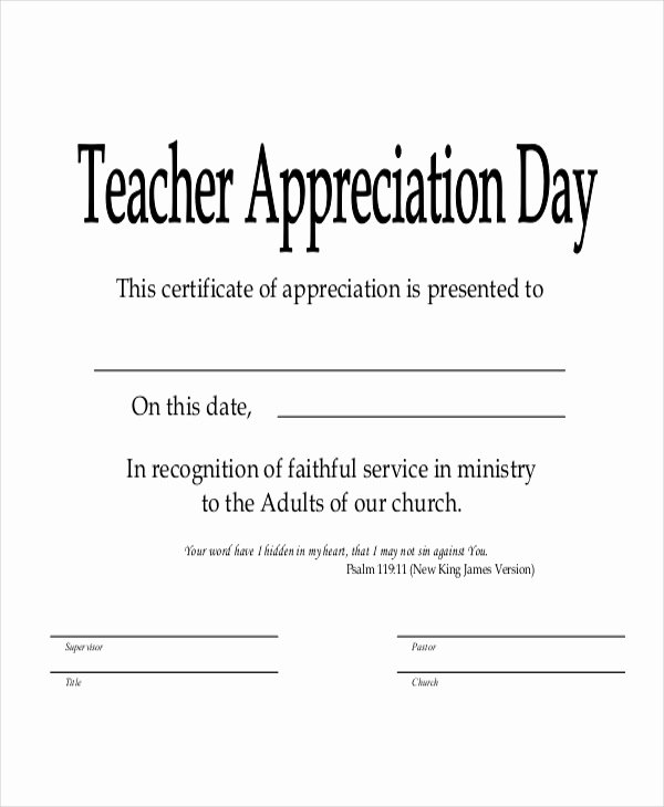 Sunday School Teacher Appreciation Certificates Awesome Sunday School Certificate Template 9 Word Excel Pdf
