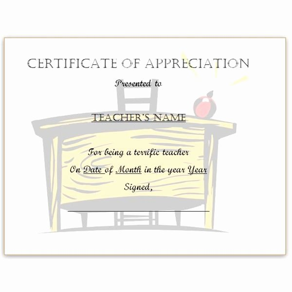Sunday School Teacher Appreciation Certificates Beautiful Free Teacher Appreciation Certificates Download Word and