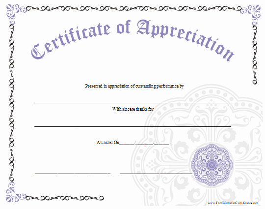 Sunday School Teacher Appreciation Certificates Lovely An ornate Certificate Of Appreciation with A Large