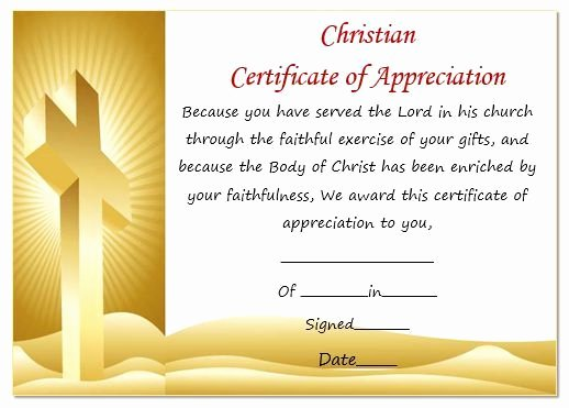 Sunday School Teacher Appreciation Certificates New Christian Certificate Appreciation Template