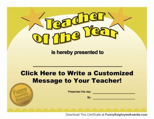 Sunday School Teacher Appreciation Certificates New Funny Teacher Awards