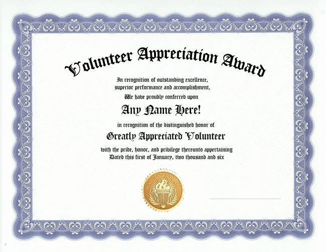 Sunday School Teacher Appreciation Certificates New Volunteer Appreciation Award Certificate Custom T