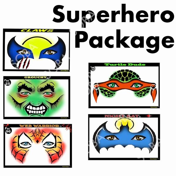 Superhero Stencils for Sale Beautiful Face Painting Stencil Super Hero Pack From Show Fs Body
