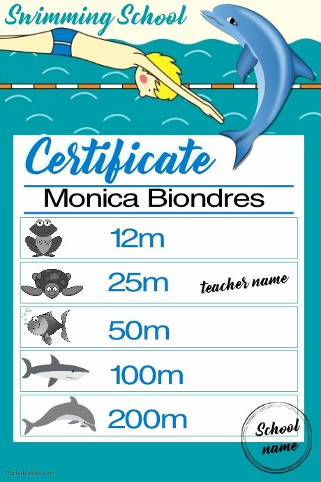 Swimming Certificate Template Free Awesome Certificate Swimming1 Template