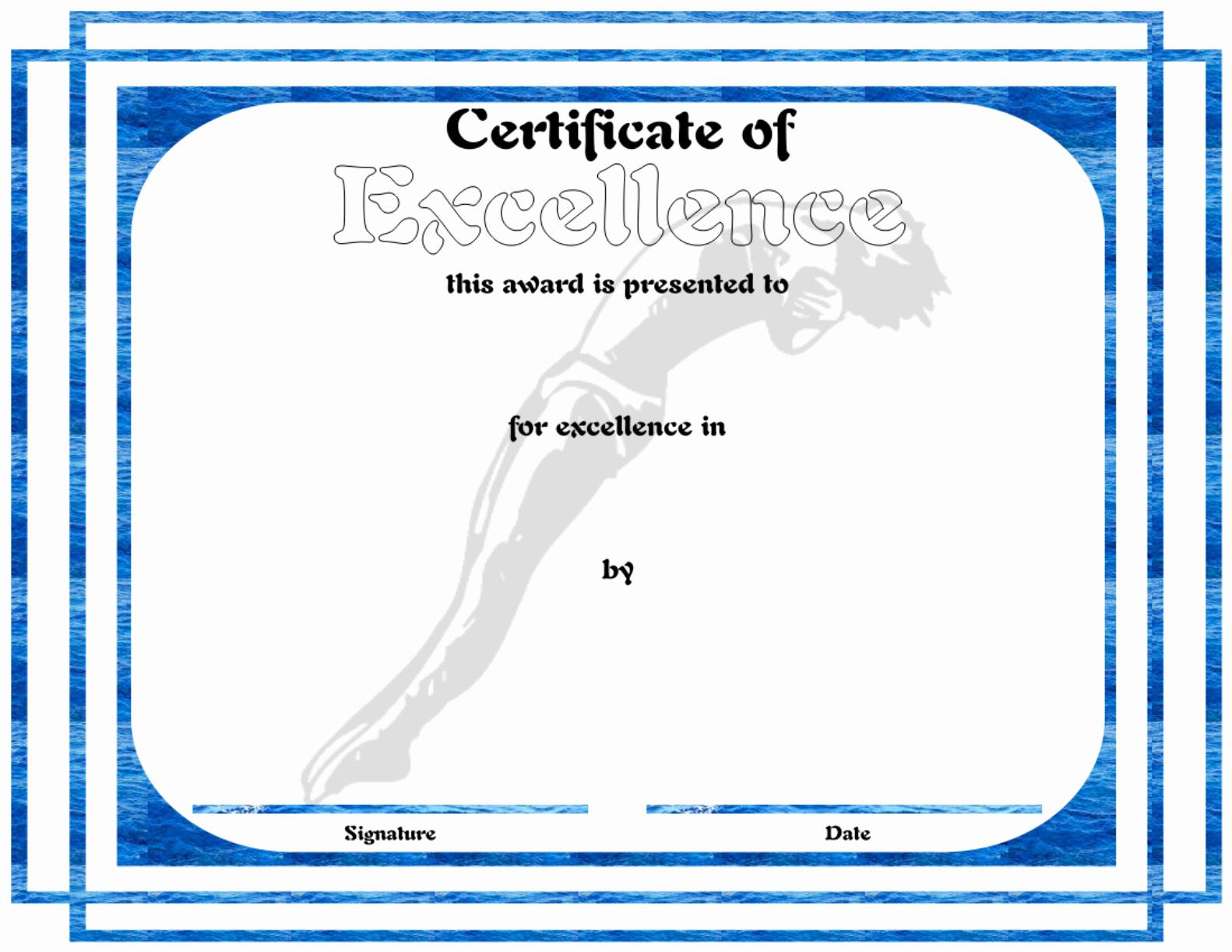 Swimming Certificate Template Free Beautiful Download Swimming Certificate Sample for Free formtemplate