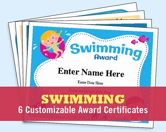 Swimming Certificate Template Free Beautiful Swimming Certificate Pack Child Certificate Kid Certificate