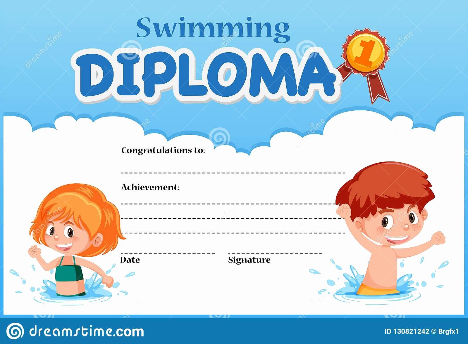 Swimming Certificate Template Free Elegant Swimming Diploma Certificate Template Stock Vector